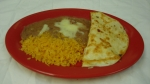 Quesadilla - Cheese quesadilla with rice and beans.